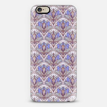Art Deco Lotus Rising 2 - sage grey & purple pattern iPhone 6 case by Micklyn Le Feuvre | Casetify