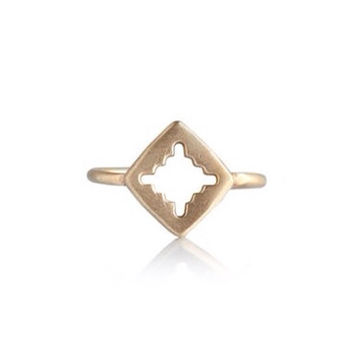 Hamsa hand dainty gold ring - delicate adjustable brass