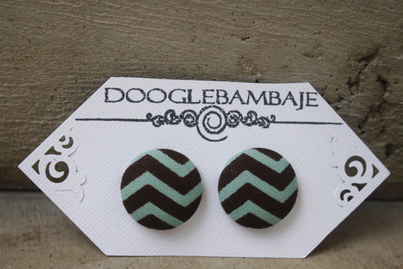 Turquoise Brown Chevron Design- Turquoise Mint Teal Green and Brown Zigzag Stripes Lines Fabric Button Stud Post Earrings- Wedding