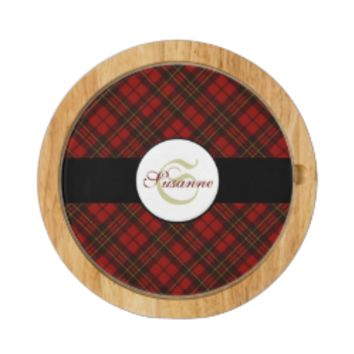 Adorable Red Christmas tartan Monogram Round Cheese Board by PLdesign