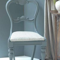 Vintage Restored Grey Ticking Salon Chair - GHOST FURNITURE