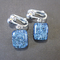 Sparkly Blue Clip On Earings, Dangle Clipon Earrings, Ear Clip Jewelry - Blueberry Hill - 1444 -4