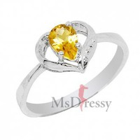 Heart Citrine Modern Ring at Msdressy