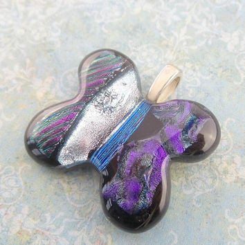 Purple Butterfly, Silver Blue Striped Butterfly, Dichroic Fused Glass Pendant - Butterfly Waltz - 3241 - 4