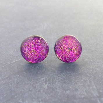 Dichroic Pink Post Earrings, Hypoallergenic Studs, Womens Fused Glass Jewelry, Modern - Sweetness - 137 -4