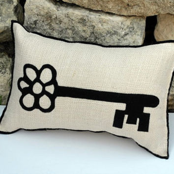 White Natural Burlap Pillow Appilqued With by YellowBugBoutique
