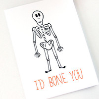 Halloween Card. I'd Bone You. Black and Orange.