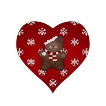 Red Heart Shaped: Christmas Bear Stickers