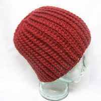 Unisex Crochet Cable Hat Autumn Red Crochet Winter Men Women
