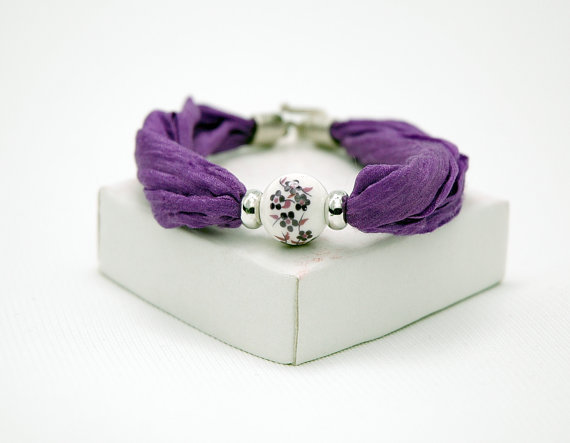 Purple Floral Ceramics Beaded Silver Bracelet with Silk Fabric Cord