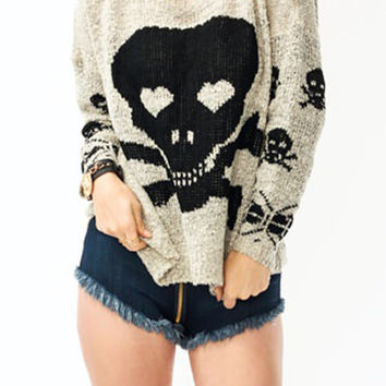 Popular Fashion Lovely Skull Printed Sweater Long Sleeve Top S/M M / L  10110T