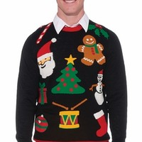 Ugly Christmas Everything Sweater- Adult Mans Halloween Costumes