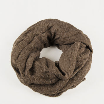 Stitched Squares Infinity Scarf - Taupe - Taupe / One