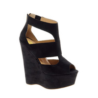 River Island Eager Black Strappy Platform Wedges at asos.com