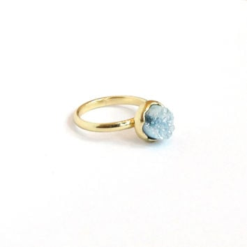 Small Round Druzy Ring - Light Blue/Gold