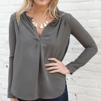 From Meetings to Martinis Long Sleeve Notch Neck Blouse - Olive Green