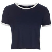 Contrast Trim Cropped Tee - Navy Blue