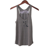 Cocoa and Black Roses Tri-Blend Racerback Tank Top - Cocoa and Black hand printed by Blonde Peacock