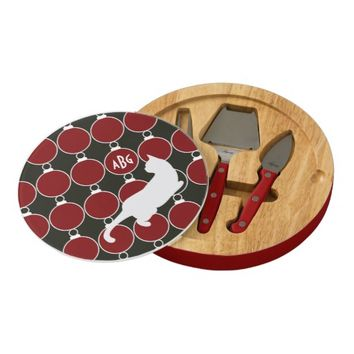 Cool Elegant Playful Cat Red and Black Monogram Christmas Round Cheese Board for Cat Lovers