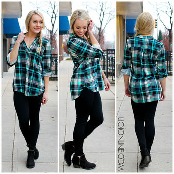 For You I Will Flannel - Aqua