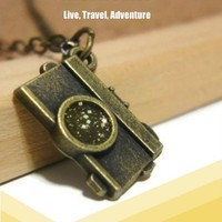 Brass camera charm necklace jewelry gold glitter photographer gift