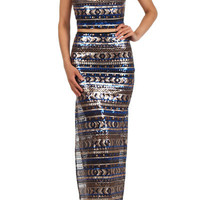 Buy The Outfit - Metallic Sequin Bustier Top & Maxi Skirt SET