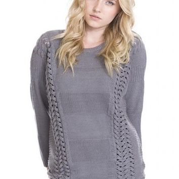 Ory Braided Panel Knit Pullover Designer Wool Sweater Women by One Grey Day Gray