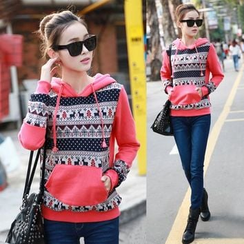 Magic Pieces Cute Pullover Hoodies with Front Pocket Color Orange