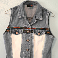 Denim Vest with Stitching