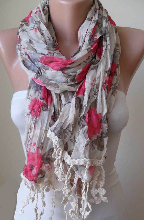 Pink Roses - Beige and Pink Flowered Fabric Scarf with Beige Trim Edge