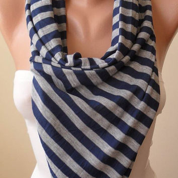 Striped Scarf - Grey and Dark Blue - Combed Cotton - Summer Colors