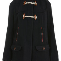 Navy Bonded Duffle Coat - Coats & Jackets  - Clothing