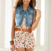 Button Belted Floral Romper