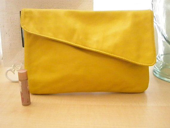 Vintage Italian leather yellow clutch by MissHotcakes on Etsy