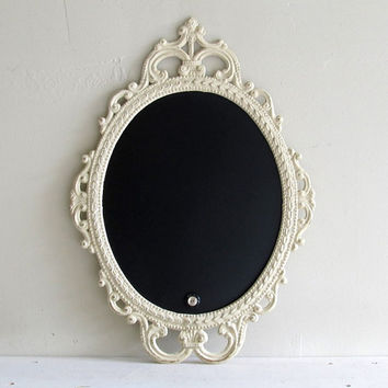 ORNATE CHALKBOARD Chalk Board Oval Wedding Sign French Country Shabby Chic Ivory Cream French Country Ornate Antique Frame Baroque Kitchen