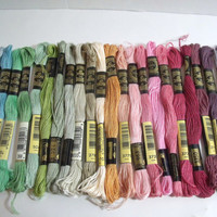 DMC Embroidery Floss Pastel Sampler Destash 23 skeins assorted pasted colors cross stitch needlework craft thread crewel