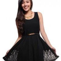 Cut Out Diamond Skater Dress