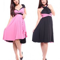 Black/Pink Reversible Convertible Dress