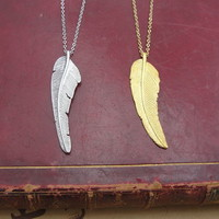 Feather Long Chain Pendant