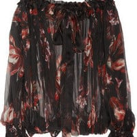 ALEXANDER MCQUEEN Off-the-shoulder printed silk-chiffon blouse