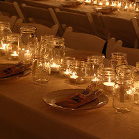Outdoor Wedding With Mason Jar Candle Holders · Candle Making | CraftGossip.com