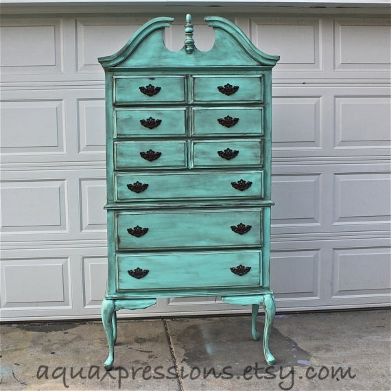 Aquamarine Vintage Highboy Chest