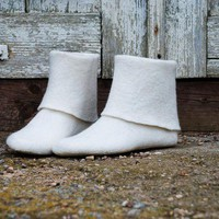 Felted women slippers - booties