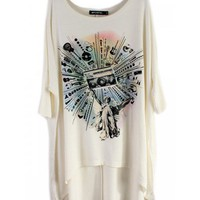 Women Cotton Loose 3/4 Sleeve Off Shoulder White T-Shirt One Size@SX0003w $11.99 only in eFexcity.com.