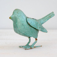 Vintage turquoise metal Warbler, blue rusted metal bird, bird figurine, collectible, cottage chic, nature decor, animal world