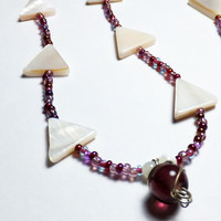 Triangle Mother of Pearl Beaded Necklace with Purple Glass
