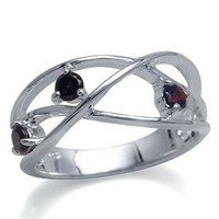 Natural Garnet Sterling Silver CrissCross Ring RN0035020 SilverShake.com