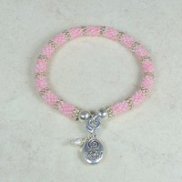 Bangle Bracelet Woven Seed Bead Pink Silver Be Yourself Charm