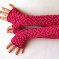 Fingerless Gloves Raspberry Pink Arm Warmers Women&#x27;s Hand Warmers Long Fingerless Mittens Wool Knit Cable Gloves - KG0038 - Aimarro