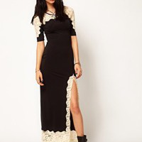 Thirty Four Disciples Lace Maxi Dress with Split Thigh at asos.com